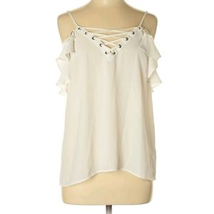 Express cold shoulder / lace up blouse